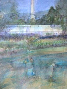 A different version of the greenhouse in Saltaire, original watercolour by Ann Davies.