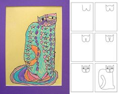 How to Draw Laurel Burch style Cat. This is a kids project, but there is quite a bit of possibility here.