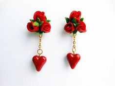 Earrings red roses and heart Handmade of by KsuhaJewelryFlowers