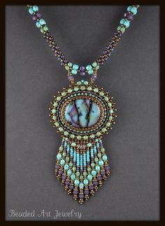 Bead Embroidered Beaded Beadwork Summer Skies by beadedartjewelry, $225.00
