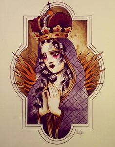 Virgin Mary traditional tattoo art...... .Alix Ge