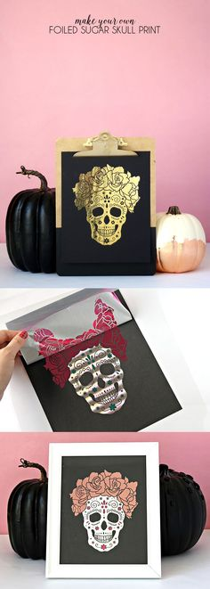 make your own foiled sugar skull prints with the Heidi Swapp Minc - free download! #HSMinc #foilallthethings #ad