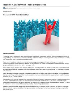 Become a leader with these simple steps by ErickEsmenjaud via slideshare
