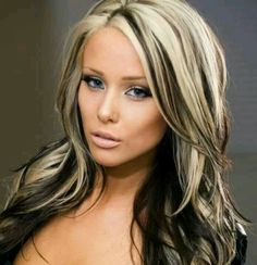 Love The Medium Brown With Platinum Blonde Highlights!