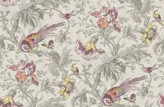Crowe Hall Lane Paradise - Little Greene Wallpapers - A large-scale, late C wallpaper with a bold pattern of exotic birds, butterflies and flowers, set against a subtle trail. Shown in the Paradise blues and greens on stone grey. Wallpaper Accent Wall Bathroom, Dining Room Wallpaper, Grey Wallpaper, Print Wallpaper, Wallpaper Ideas, Indigo Prints, Bold Prints, Modern Prints, Exotic Birds
