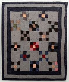 Nine Patch Amish Doll Quilt: Circa 1920