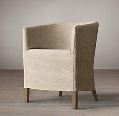 Slipcovered Barrelback Long Skirt Dining Chair | Restoration Hardware