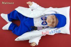 W kolorze niebieskim bawełniane ubranko dla chłopca na roczek