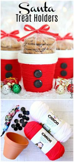 DIY Christmas Treat Holder: Santa Cup – Consumer Crafts Yarn Wrapped Santa Treat Holders Related posts:Easy art project for kids using a canvas and tape! A ton of DIY super easy kids . Fun Christmas, Diy Christmas Decorations For Home, Diy Christmas Ornaments, Homemade Christmas, Diy Christmas Gifts, Christmas Treats, Santa Decorations, Christmas Vacation, Halloween Decorations