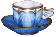 Tazas Porcelana Blue Butterfly Tea Cup ♥≻★≺♥