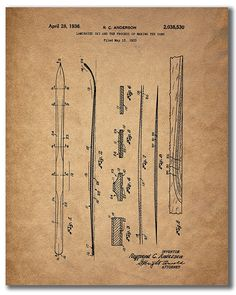 Amazon.com: Ski Patent Prints - Set of Four 8x10 Vintage Wall Art Decor Photos: Posters & Prints