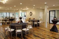 View of our new common area set up for a welcoming luncheon for staff.  #reclaimed #hardwood #brick