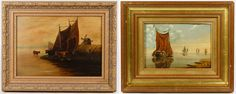 Lot 229: Unknown Artists (Dutch School, 19th Century) Oils on Boards; Two undated, unsigned oil on board paintings depicting sailboats
