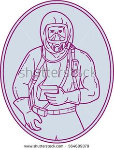 Mono line style illustration of a worker in a haz chem suit set inside oval shape on isolated background.  #hazchem #monoline #illustration