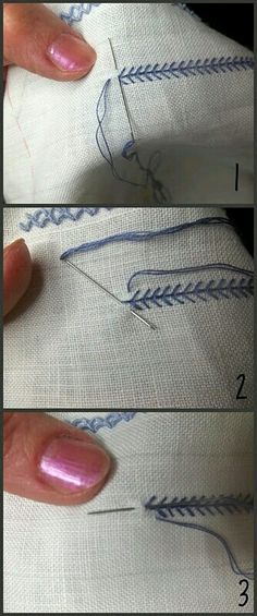Great website for hand embroidery tutorials, like this on for a braided chain stitch. Such a beautiful stitch and the tutorials are wonderful! Hand Embroidery Stitches, Silk Ribbon Embroidery, Sewing Stitches, Embroidery Techniques, Embroidery Applique, Cross Stitch Embroidery, Embroidery Patterns, Sewing Patterns, Viking Embroidery