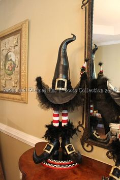 CUSTOM ORDERS-Wicked Witch Hat Legs Boots Crow-Halloween-Fall Decoration-Centerpiece-Wreath