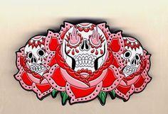 triple sugar skull rose belt buckle by Kreepsville 666 $28