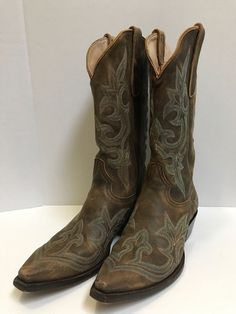 5d55ee1421b6 Old Gringo 9D Men s Brown Green Cowboy Boots Stitched Embroidered Western  Ranch