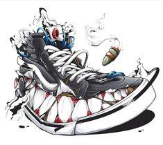 Monster Shoes – Graffiti World Graffiti Drawing, Street Art Graffiti, Art Drawings, Sketch Manga, Sneakers Wallpaper, Graffiti Characters, Sneaker Art, Graffiti Styles, Shoe Art