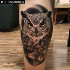 Find the tattoo artists and the perfect inspiration to your tattoo. Owl Forearm Tattoo, Forearm Tattoo Design, Calf Tattoo, Owl Thigh Tattoos, Tattoo Owl, Body Art Tattoos, Small Tattoos, Sleeve Tattoos, Owl Tattoo Design