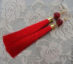 """Купить Серьги кисти """"Elegant red"""" - ярко-красный, серьги, серьги кисти, серьги кисточки"""