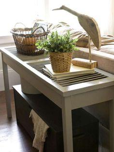 Riciclo creativo di vecchie persiane - Tavolino bianco
