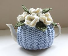 Sky Garden - Hand knitted Pure Wool Flower Garden Tea Cosy in Luxury merino-cashmere-silk wool