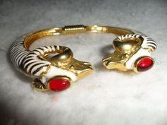 Kenneth Lane KJL Cuff Bracelet 2 Rams Aries WHITE Enamel RED Cabs PRIORITY MAIL #KennethJayLane #CuffRunwayBangleDesignerHauteCouture