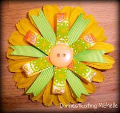 Ribbon cutting flowers | Flower and Ribbon Combo Hair Clip | Domesticating Michelle