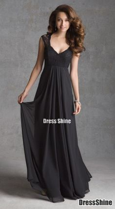 A line V Neck Chiffon and Lace Floor Length Bridesmaid Dresses - Bridesmaid Dresses - Wedding Party Dresses