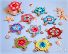 SCHEMA uncinetto - tartarughe piccole - crochet reticolo della tartaruga, motivo tartaruga honu, applique tartaruga, tartaruga ornamento pattern - Instant PDF Download
