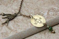 Hope Bird Necklace by BeneathTheLeaf on Etsy, $16.00