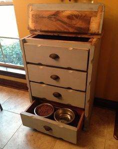 Cat Food Station hiding eyesores pet bowels - Helping you turn homely into homey. Food Storage Cabinet, Pet Food Storage, Stuffed Animal Storage, Diy Stuffed Animals, Storage Containers, Kitchen Storage, Food Dog, Cat Food, Dog Food Recipes
