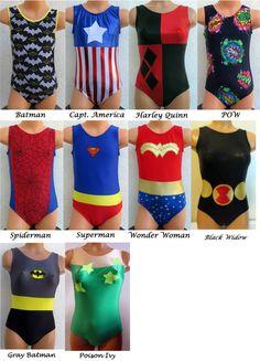 Super Hero Comic Villain Leotard Gymnastics - inspired by Batman, Capt America, Harley Quinn, Spiderman, Superman, Wonder Woman, Black Widow