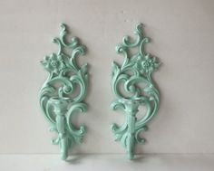Wall Candle Sconces Set Of Two Vintage 1965 Syroco Painted Aqua Shabby Chic Ornate Wall Decor. $25.00, via Etsy.