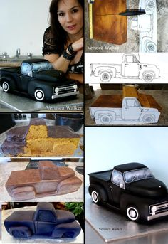 Old school truck cake. Car by Verusca Walker 3d Cakes, Fondant Cakes, Cupcake Cakes, Cake Decorating Techniques, Cake Decorating Tutorials, Cake Structure, Decoration Patisserie, Truck Cakes, Sculpted Cakes