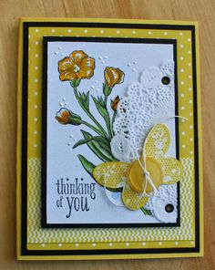 Stampin Up Image card designed by Cheryl Moody (Pin#1: Flowers: SU-Stamped. Pin+: Butterflies...; Doilies).