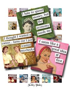 1x1 Digital Collage Sheet Retro Ladies With an Attitude Quotes Scrabble Tile Images For Jewelry Square Words Sayings by JewelryFoolery on Etsy https://www.etsy.com/listing/115475085/1x1-digital-collage-sheet-retro-ladies
