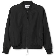 Marigold Bomber Jacket ($72) ❤ liked on Polyvore featuring outerwear, jackets, tops, blouson jacket, black white jacket, light weight jacket, black and white jackets and style bomber jacket