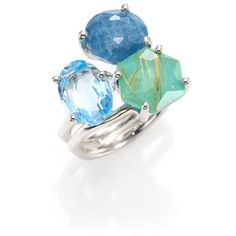 Ippolita Rock Candy Rutilated Turquoise, Aquamarine, Blue Topaz &... ($995) ❤ liked on Polyvore featuring jewelry, rings, blue, sterling silver turquoise rings, multi stone ring, blue sterling silver rings, blue topaz rings and turquoise rings