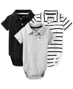 Carter's Baby Boys' 3-Pack Polo Bodysuits - Kids Newborn Shop - Macy's
