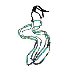 ROYAL NOMAD JEWELRY Two Strand Chrysoprase, Lapis, And Azurite Bead Necklace