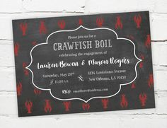 Crawfish Boil Invitation - Printable digital file #crawfish #crawfishboil #seafood #lowcountry #engagement #invitation #chalkboard