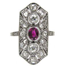 Art Deco Ruby Diamond Platinum Rectangular Ring | See more rare vintage Engagement Rings at http://www.1stdibs.com/jewelry/rings/engagement-rings