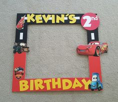 Disney s Cars photo booth frame Race Car Birthday, Race Car Party, 3rd Birthday, Birthday Ideas, Birthday Photo Frame, Birthday Frames, Disney Cars Party, Disney Cars Birthday, Car Themed Parties
