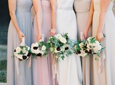 elegant fall wedding | mix and match bridesmaid dresses in shades of grey blush cream and taupe