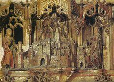 Detalle del retablo  mayor de la Catedral con una imagen de la Sevilla...