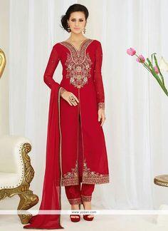 Sorcerous Georgette Red Resham Work Pant Style Suit Model: YOS7764
