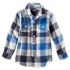Plaid Flannel Shirt-black and blue
