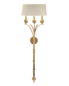 "61""H 17""W 12""D 3 Light Wall Sconce-Shade: (155x85)x(19x85)x8 Natural Eggshell-Candelabra base type B 60 watt max-Direct Wire-ailable only in honey brass-TTM: 27"""
